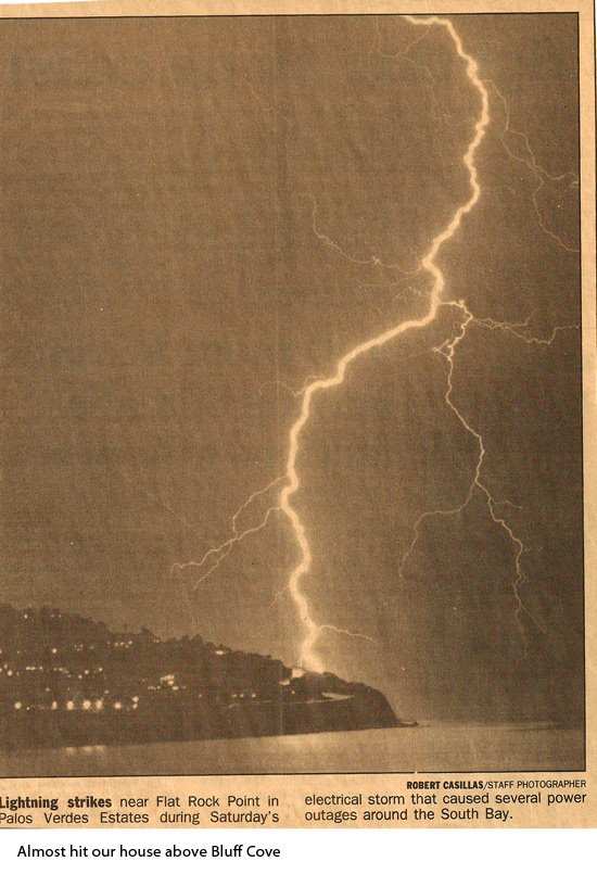 Lightning strikes Bluff Cove's edge at Flat Rock Point